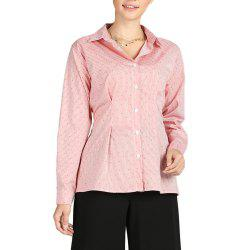 S Betro Turn Down Collar à simple boutonnage Polka Dots à rayures Chemises Casual Femme -
