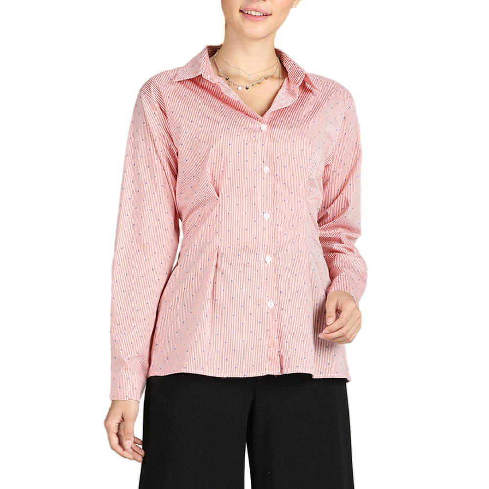 S Betro Turn Down Collar à simple boutonnage Polka Dots à rayures Chemises Casual Femme