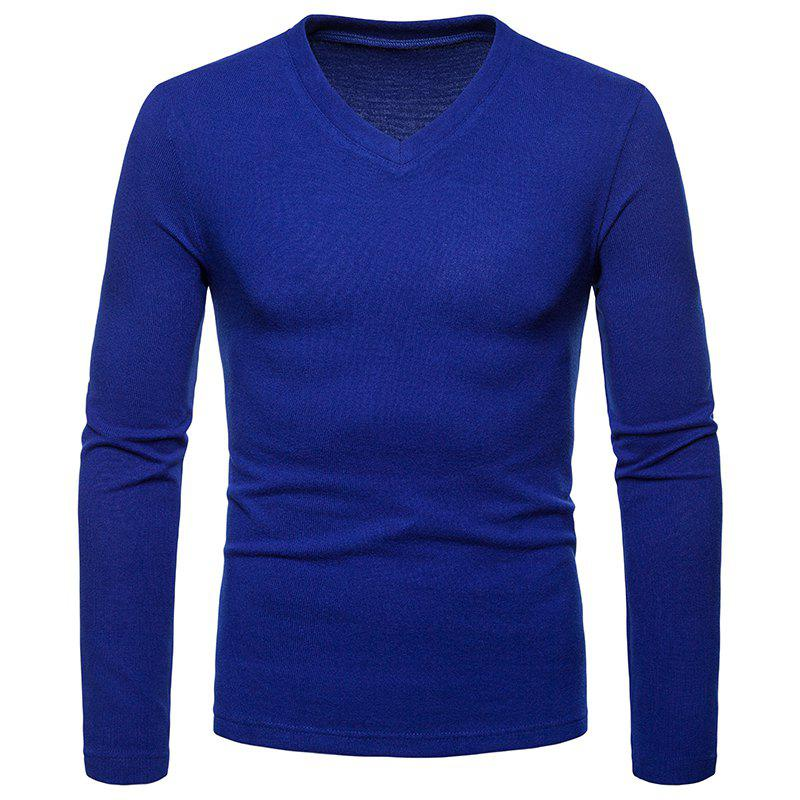 Affordable Men's Fashion Large Size Rest V-Neck Long-Sleeved Bottoming Shirt