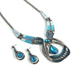 Vintage Blue Water Drop Earrings Necklace Set -