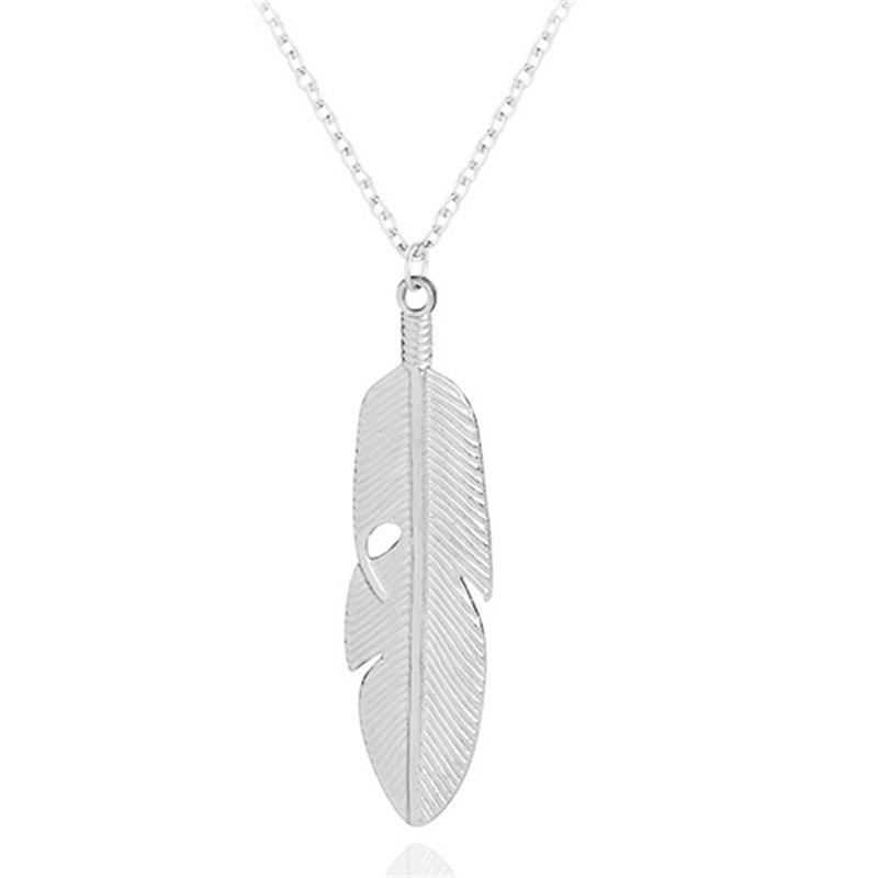 Latest Fashion Long Metal Leaf Feather Clavicle Sweater Chain