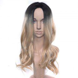 Central Parting Hair Style Gradient Ramp Big Wave Long Wig -