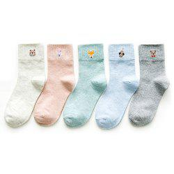 Fashion Lady Pattern Cotton Lady Socks 5 paires de mélange de couleurs et de correspondance -
