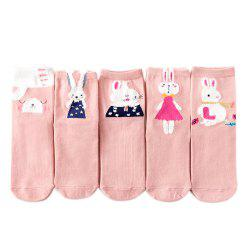 Rabbit Pattern Ladies' Cotton Socks 5 Pairs of Color Mix -