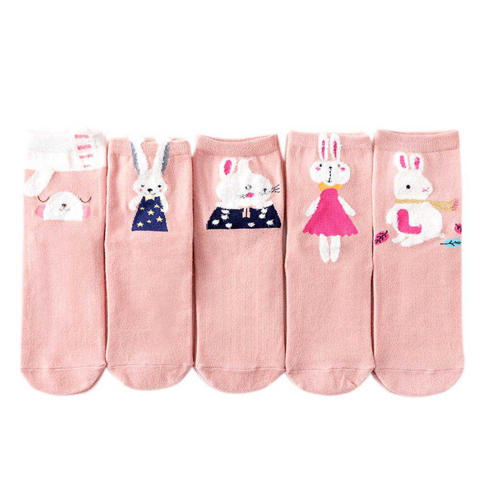 Shops Rabbit Pattern Ladies' Cotton Socks 5 Pairs of Color Mix