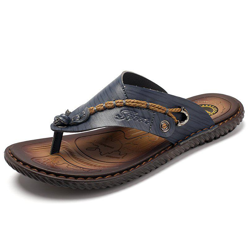 fc302351dabd42 Shop Beach Shoes Men s Summer Leather Flip Flops Sandals Tide Male Slippers