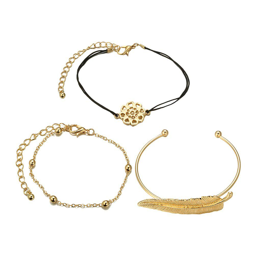Fashion 3PCS Flower Leaf Feather Bracelets