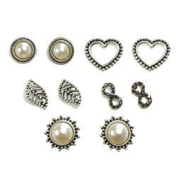 5PCS Pearl Heart-Shaped Ear Studs -