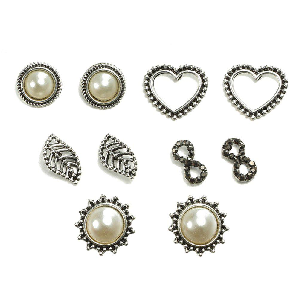Affordable 5PCS Pearl Heart-Shaped Ear Studs