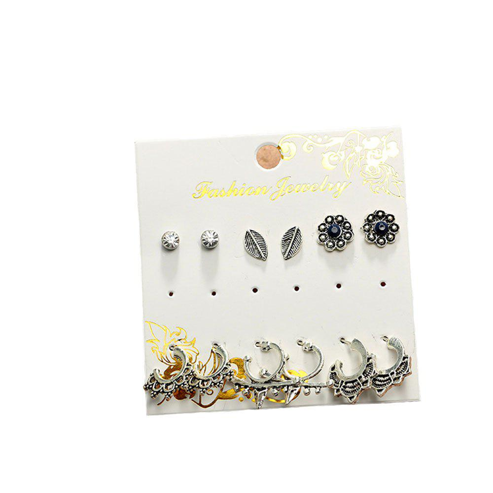 6PCS Alloy Geometric Ear Studs
