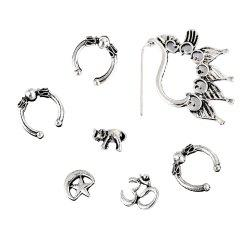 7PCS Punk Moon and Star Ear Studs -