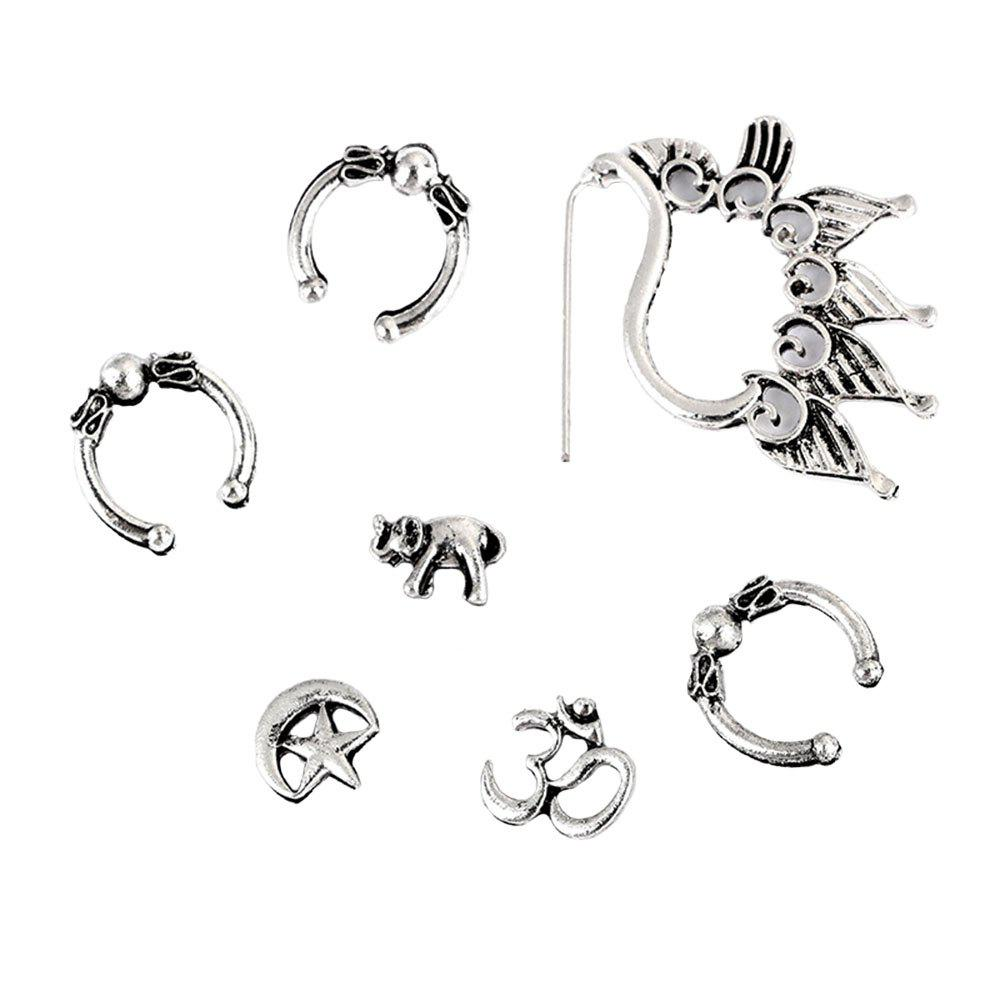 Unique 7PCS Punk Moon and Star Ear Studs
