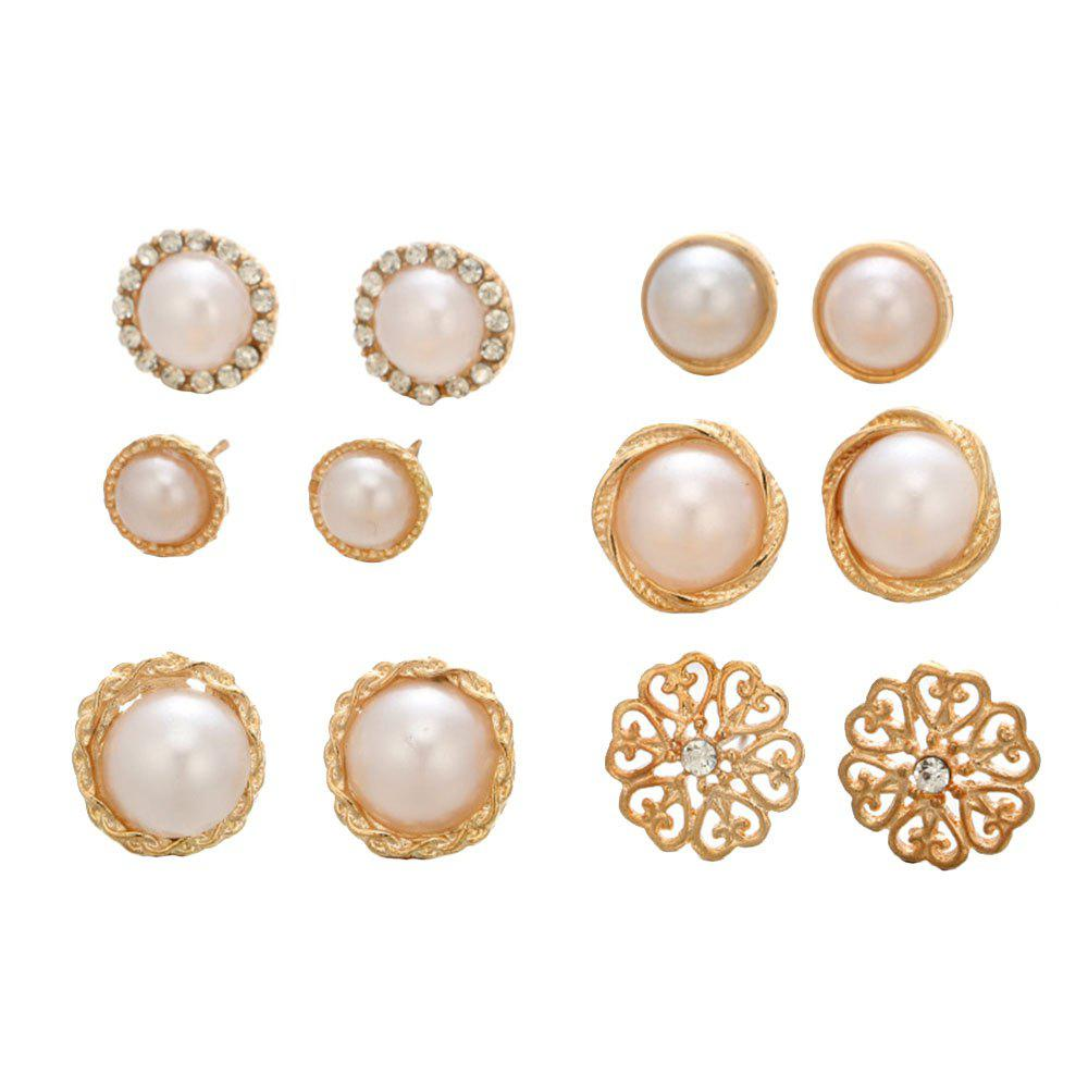 Fancy 6 Pairs of Round Pearl Drill Ear Studs