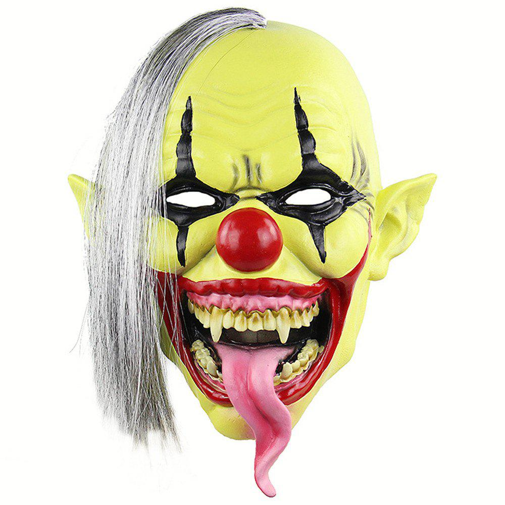 Image of Halloween Green Clown Latex Cosplay Mask Realistic Adult Party Prop