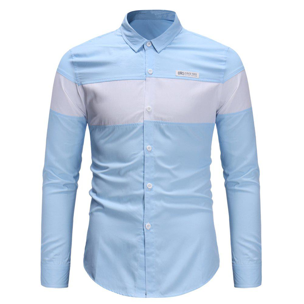 2019 Mens Trends Large Stripe Contrast Color Stitching Casual Slim