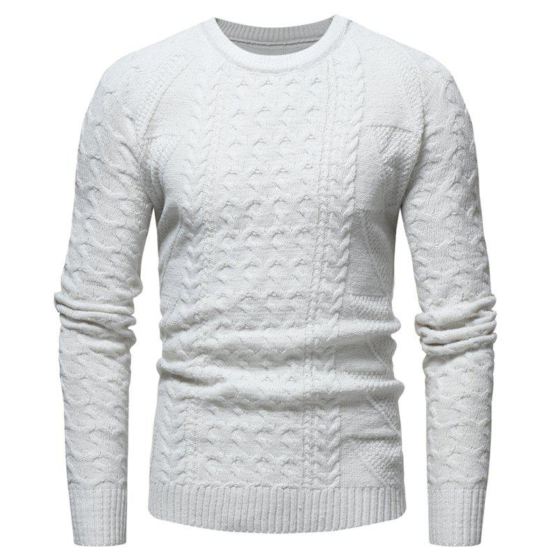 SportsX Mens Knitted Crewneck Color Splice Geometric Printing Pullover Sweater