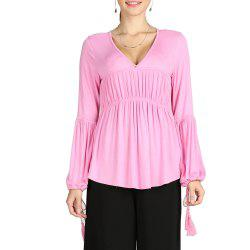 SBETRO Deep V Neck Tessels Lantern Sleeve Asymmetric Women Top -