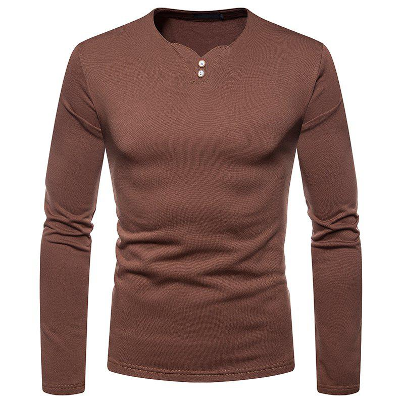 Chic Men's Fashion Large Size Plus Warm Casual Long-Sleeved T-Shirt