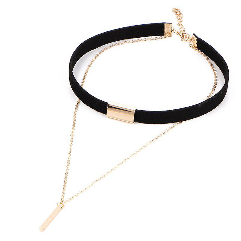 Hot Vintage Minimalist Leather Double Vertical Bar Necklace