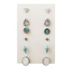 6 Pairs of Water Drops Small Triangle Earrings -