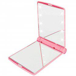 Makeup Mirrors Cosmetic Hand Folding Portable Compact Pocket 8 LED Lights Lamps -