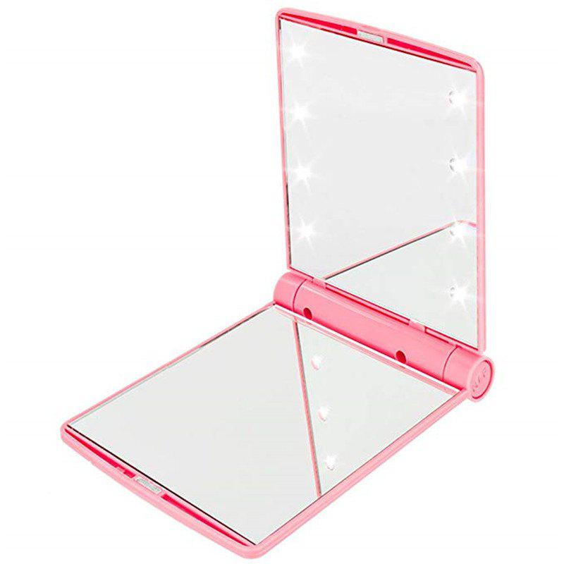 Unique Makeup Mirrors Cosmetic Hand Folding Portable Compact Pocket 8 LED Lights Lamps
