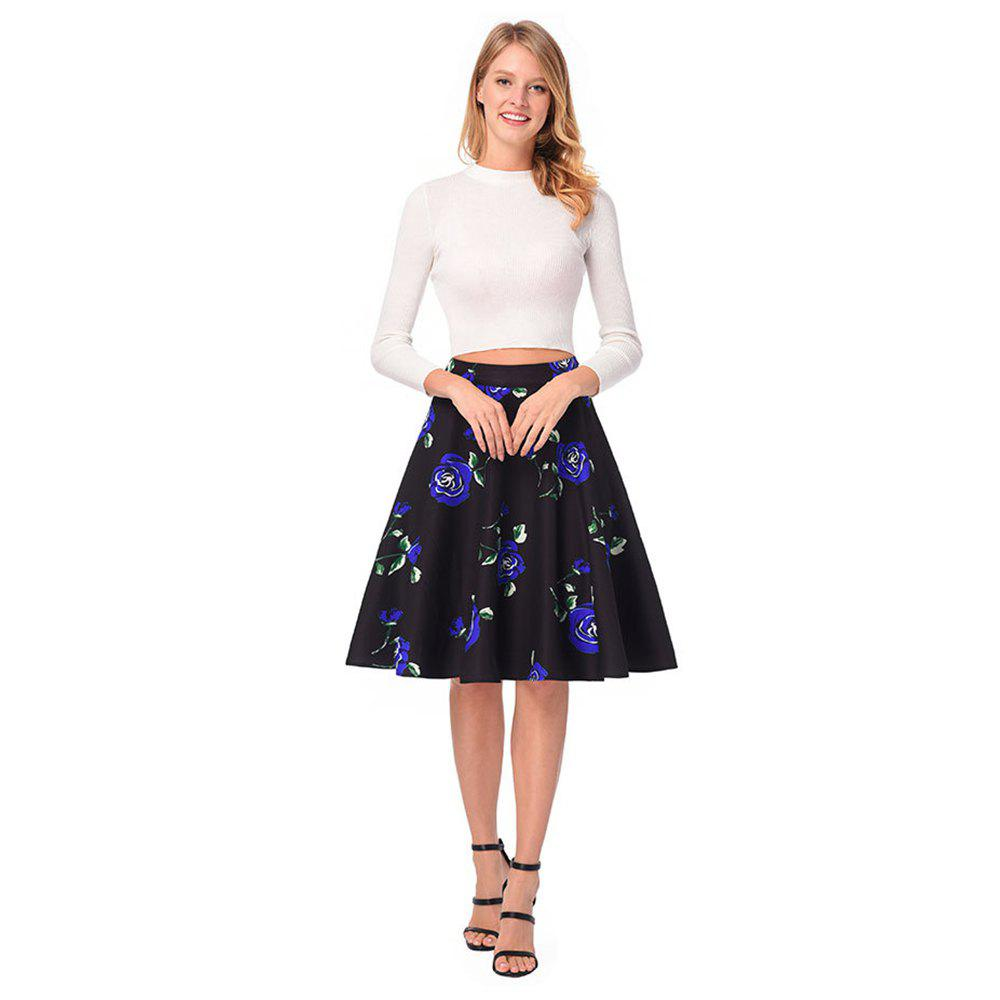Shops High Waist Rose Printed Skirt