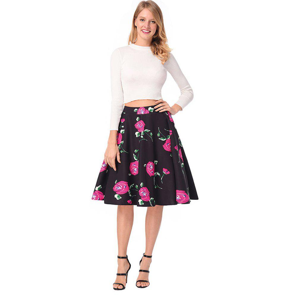 Outfit High Waist Rose Printed Skirt