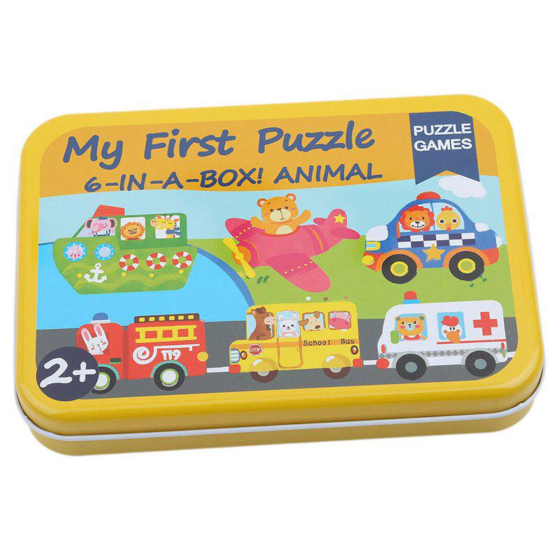 Cartoon Cards pour enfants Jigsaw Metal Iron Box Puzzle 3D en bois