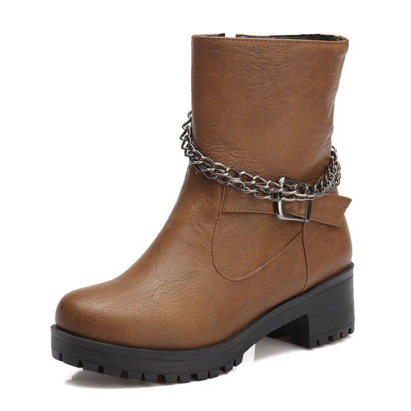 Cheap Side Zipper Metal Chain  Of Female Locomotive Boots