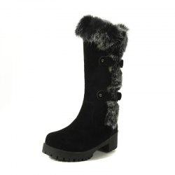 Two Colored Rabbit Hair Warm Snow Boots -