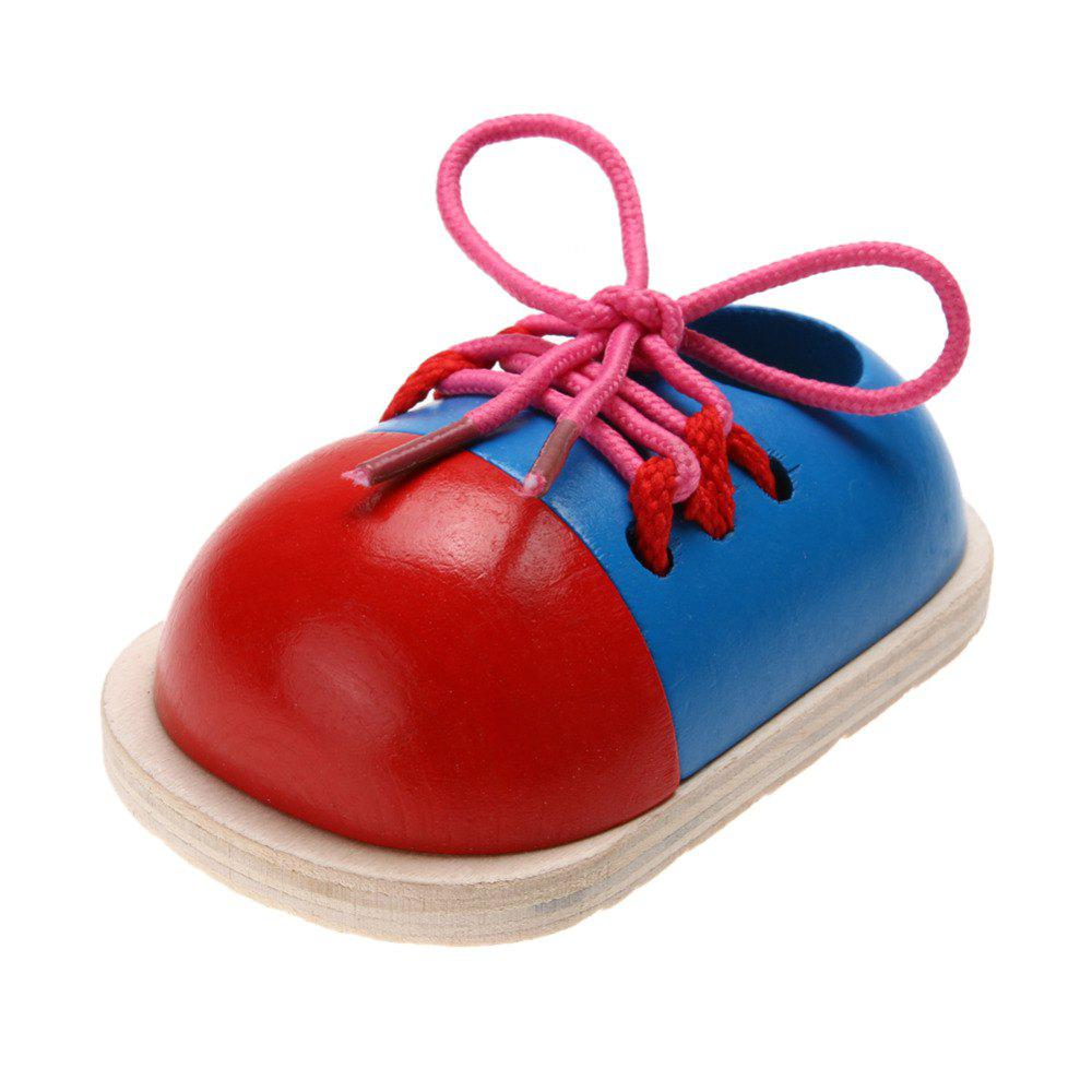 Fashion 1Pcs Kids Educational Wooden Tie Lacing Shoes Early Learning Toys