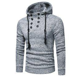 Men's Fashion Casual Double-Breasted Solid Color Hooded Knit Slim Sweater -