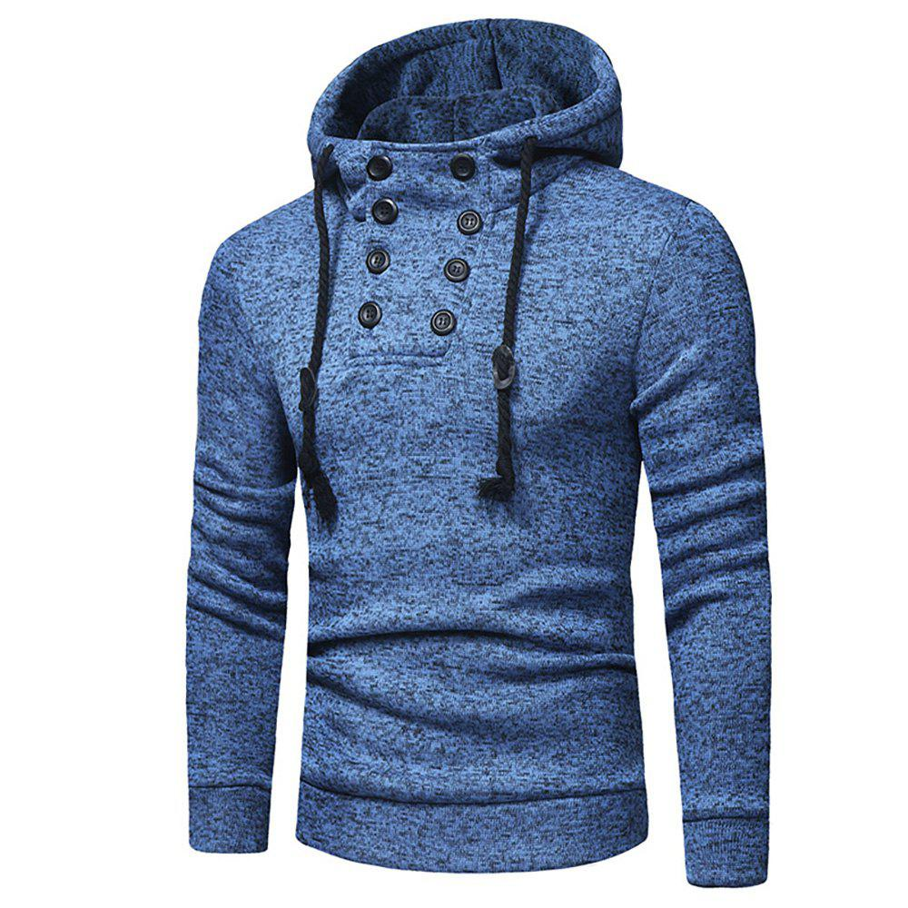 Buy Men's Fashion Casual Double-Breasted Solid Color Hooded Knit Slim Sweater