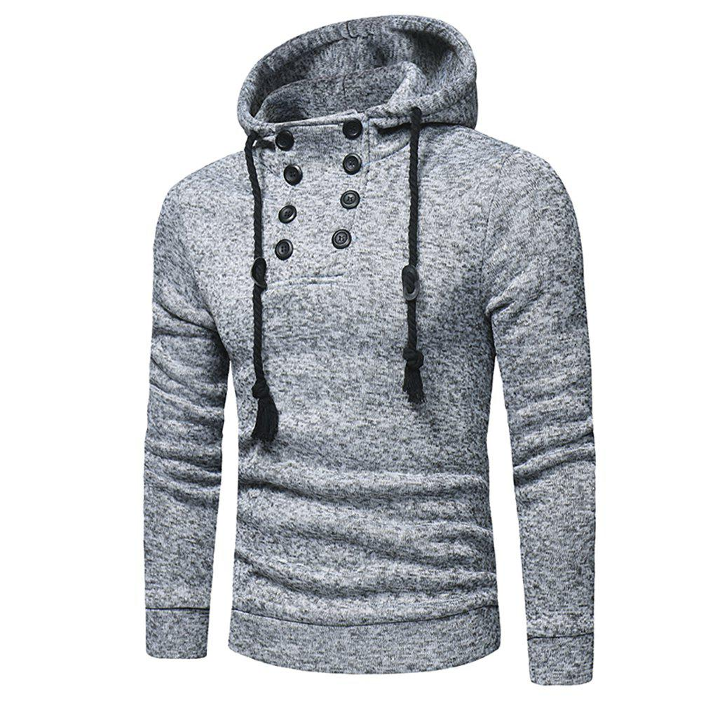 Shops Men's Fashion Casual Double-Breasted Solid Color Hooded Knit Slim Sweater