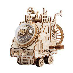 Robotime DIY Wooden Assembled Music Box Puzzle Toy Space Exploration Vehicle -