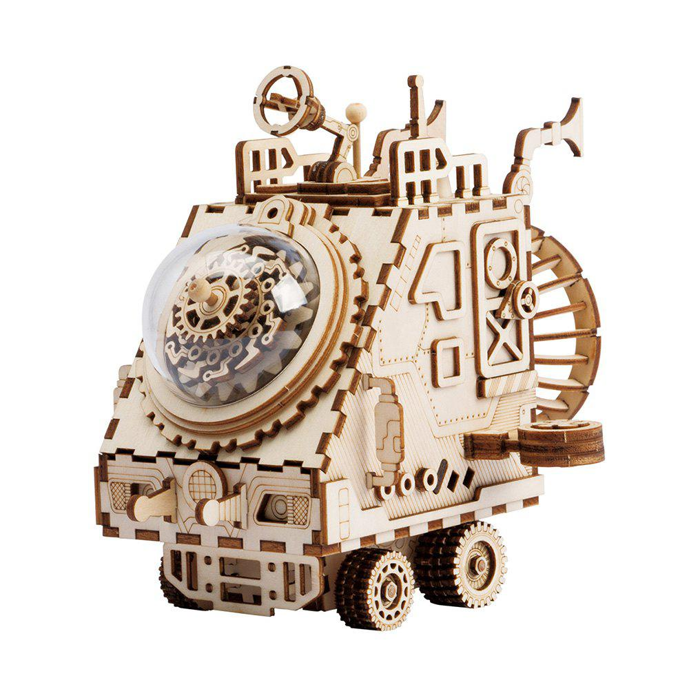 Store Robotime DIY Wooden Assembled Music Box Puzzle Toy Space Exploration Vehicle
