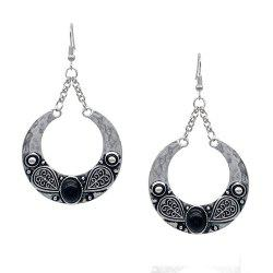 Bohemian Carved Artificial Gemstone Antique Silver Accessory -