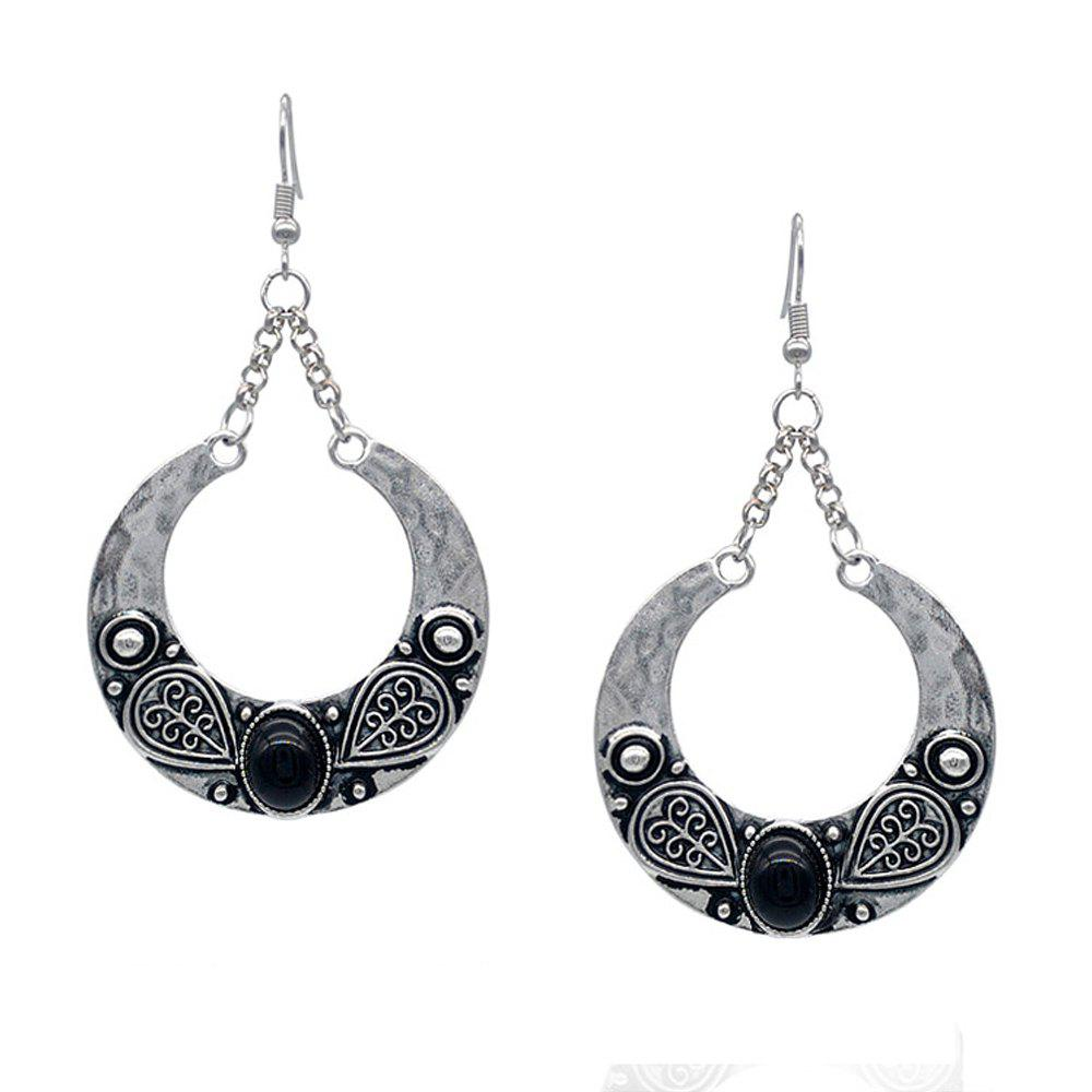 Outfit Bohemian Carved Artificial Gemstone Antique Silver Accessory
