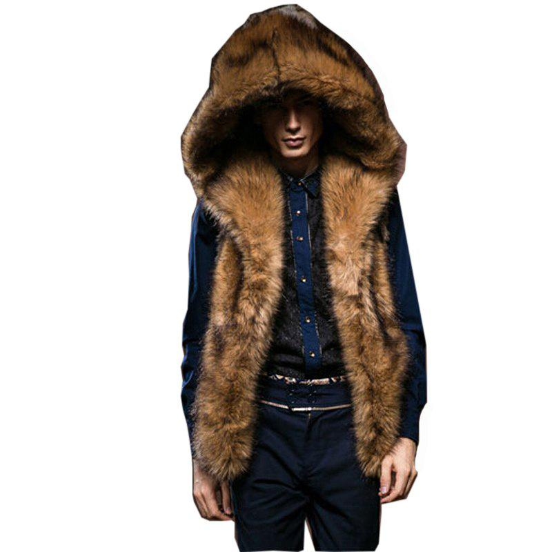 e23e4a5233 Chic Men's Plus Size Street Fur Coat Solid Hooded Sleeveless Winter Brow