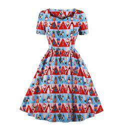 V - Neck Short-Sleeved Christmas Print Dress -