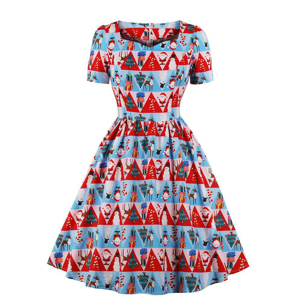 Unique V - Neck Short-Sleeved Christmas Print Dress