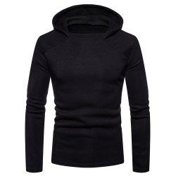 Men's Fashion High Quality Design Mesh Hooded Solid Color Casual Slim Sweater -