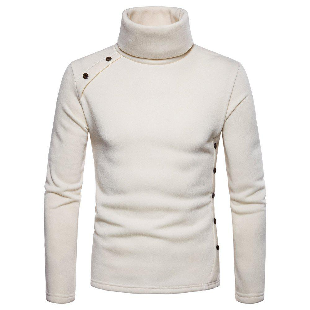 Beige 2xl Bottoming Shirt Slim Mens High Collar Solid Color Sweater