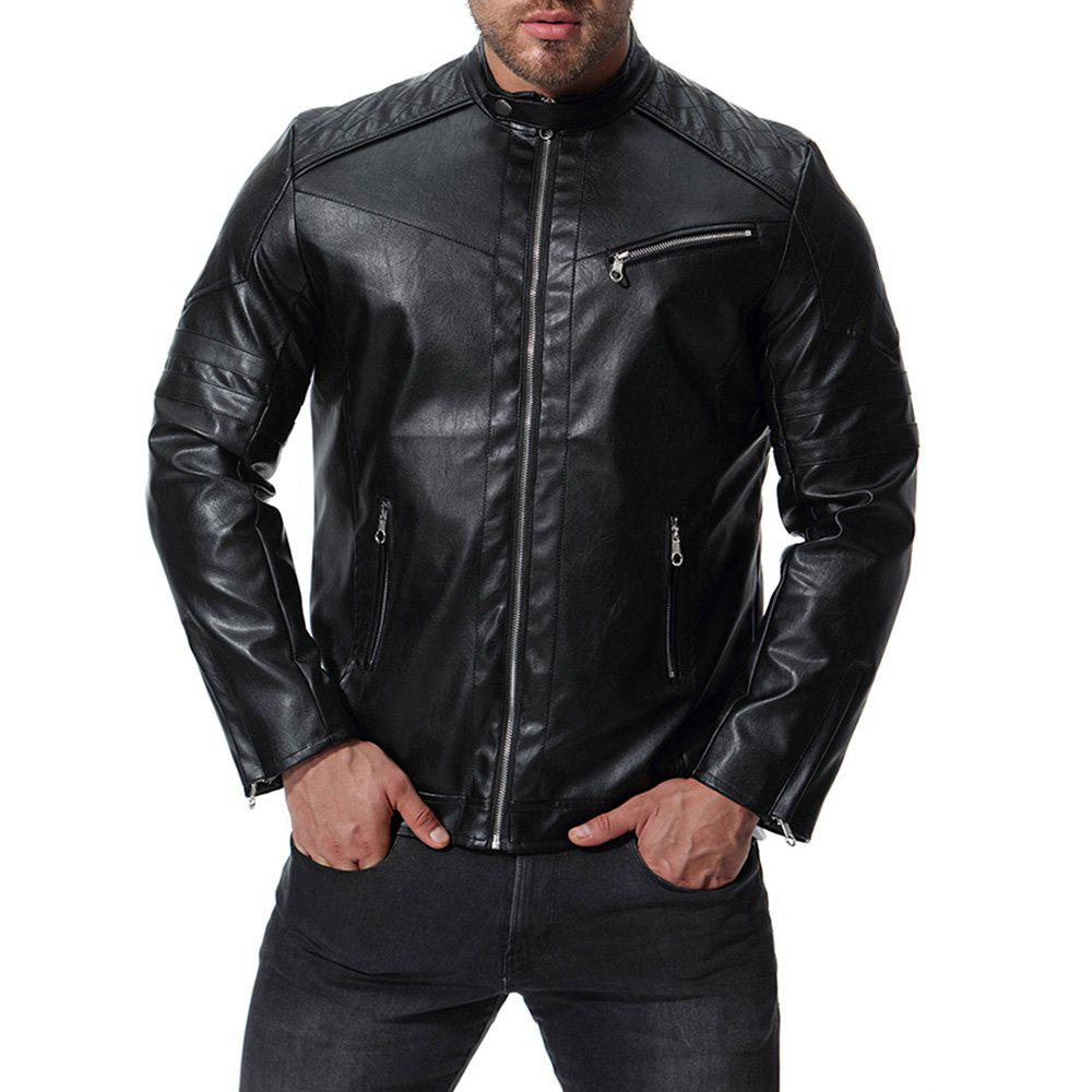Men s High Quality Design Fashion Motorcycle Leather Collar Leather jacket 284356303