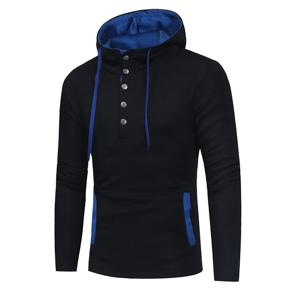 Discount Men's Fashion Button Stitching Hit Color Hooded Long-Sleeved Slim Sweater