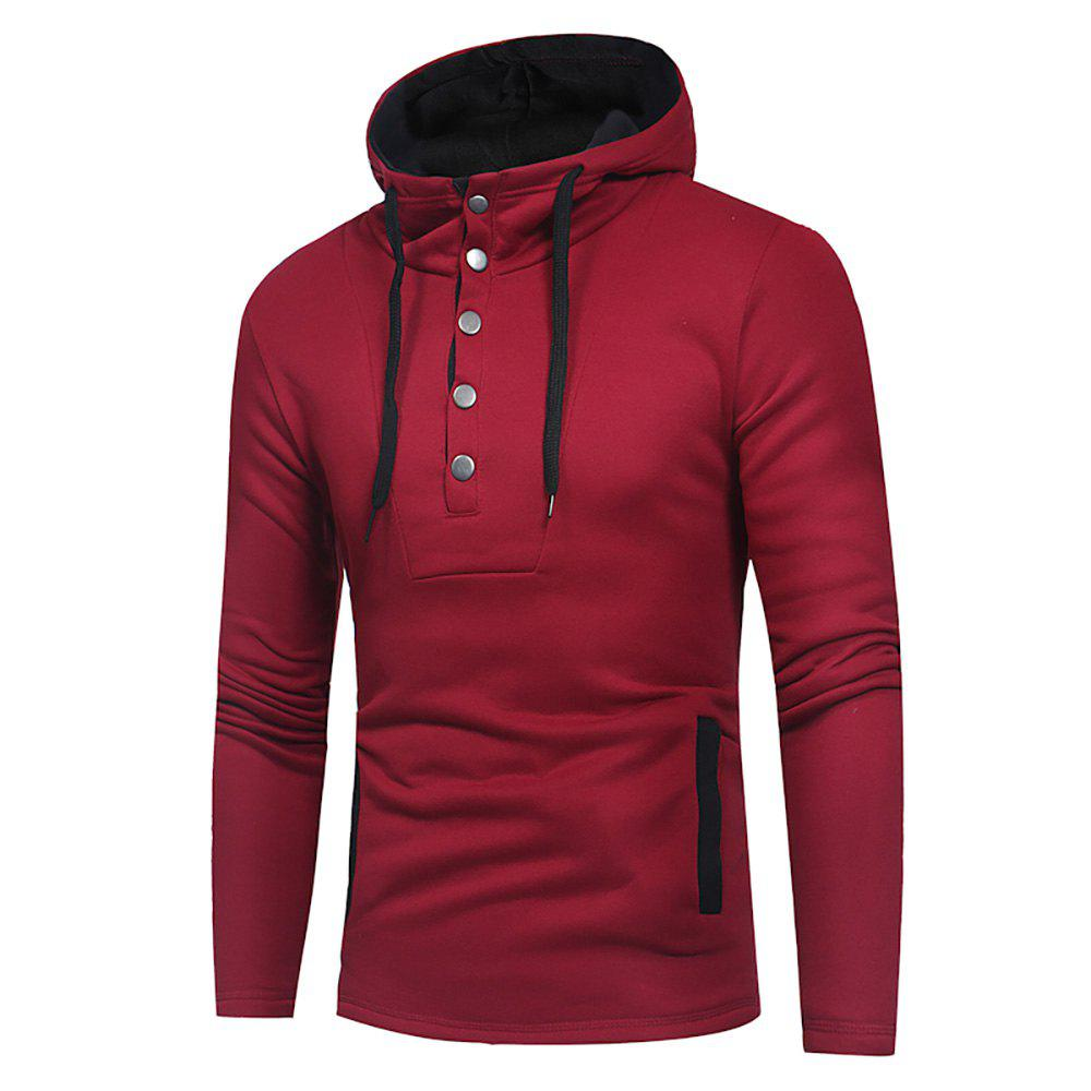 Fancy Men's Fashion Button Stitching Hit Color Hooded Long-Sleeved Slim Sweater