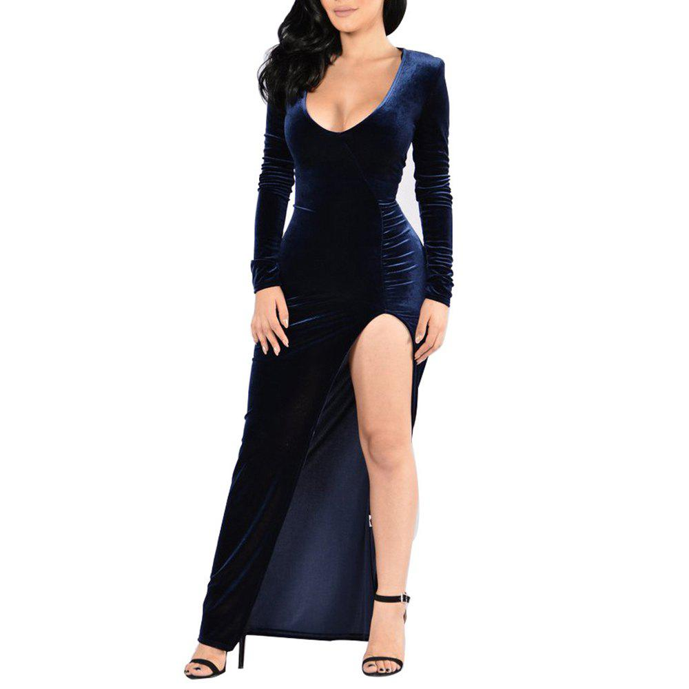 Buy Women s Deep V-neck Long Sleeve Solid Color High Split Suede Maxi Dress 991549110