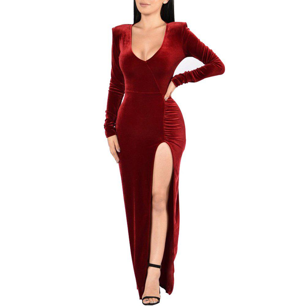 Women's Deep V-neck Long Sleeve Solid Color High Split Suede Maxi Dress, Red wine