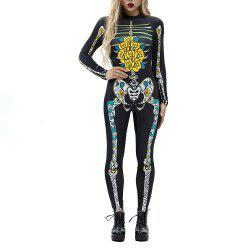 Женская печать Zip Long-Sleeve Halloween Fashion Jumpsuit -